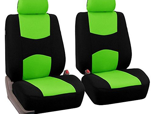 FH Group Universal Fit Flat Cloth Pair Bucket Seat Cover, Green/Black FH-FB050102, Fit Most Car, Truck, Suv, or Van