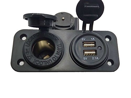 Tonsiki Dual Usb Phone Motorcycle Waterproof Cigarette Lighter Socket Set Splitter 12v 2.1a Charger Power Adapter