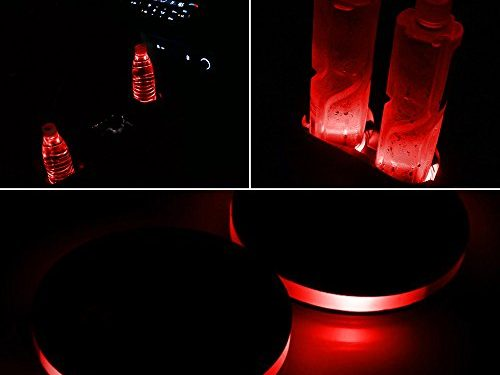 LED Cup Holder Lights, Pack of 2 Solar-Powered LED Light Cover Cup Holder Bottom Pad Cover Light Car Interior Decoration 2.83-Inch Universal Design for Car Cup Holder Red