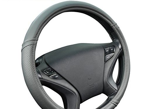 New Arrival- Car Pass Classical Leather Automotive Universal Steering Wheel Covers Gray