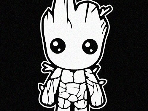 White Vinyl Decal – Baby Groot Guardians of the Galaxy