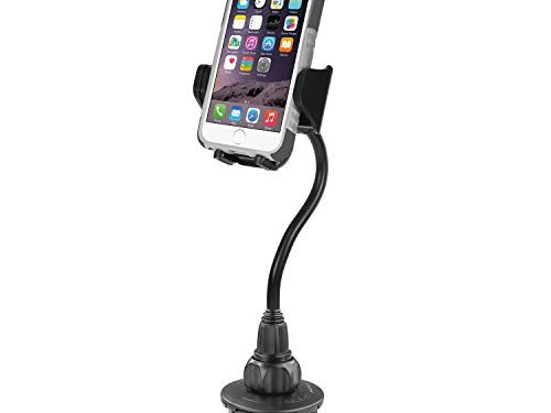 Macally Car Cup Holder Phone Mount with a Flexible Extra Long 8″ Neck for iPhone 7 / 7 Plus / 6 / 6+, Samsung, etc.  MCUP2XL