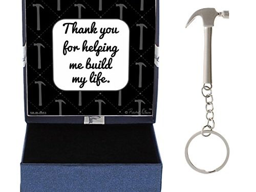 Fathers Day Gifts for Dad Thank You for Helping Me Build My Life Hammer Keychain & Gift Box Bundle Valentines Day Gift