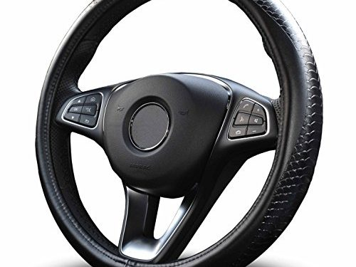 Vitodeco Odorless Luxury Genuine Leather Steering Wheel Cover, Dragon Scales Design, Excellent Grip, Nontoxic, Small Size 14″ Black