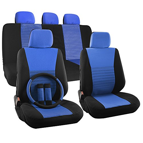 OxGord 17pc Set Flat Cloth Mesh Blue Black Wide Stripe Seat Cover