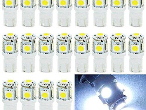 EverBright 20-Pack White T10 194 168 2825 W5W 5050 5 SMD LED Bulb For Car Replacement Interior Lights Clearance Wedge Dome Trunk Dashboard Bulb License Plate Light Lamp DC 12V