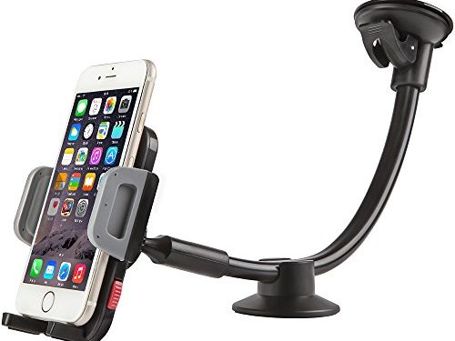 Car Mount Holder, Universal Windshield Long Arm Car Phone Holder with Easy Touch for iPhone 7/6S/6 Plus/5S/5, Samsung Galaxy S6 S5, Nexus 5X/6P, LG, HTC and All Smartphones 3.5″-6″