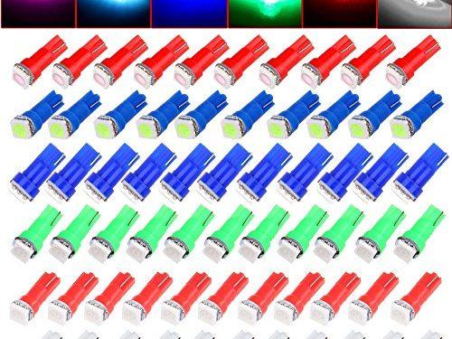 CCIYU 60 Pack T5 58 70 73 74 Dashboard Gauge 5050SMD LED Wedge Lamp Bulb Light 6 Colors Fits 2005-2007 GMC Sierra 1500 1500 HD Yukon Yukon XL 1500 Sierra 1500 1500 HD 2500 HD 3500