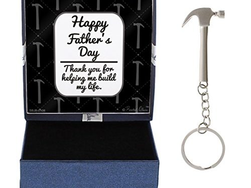 Father's Day Gift for Dad Thank You for Helping Me Build My Life Happy Father's Day Hammer Keychain & Gift Box Bundle