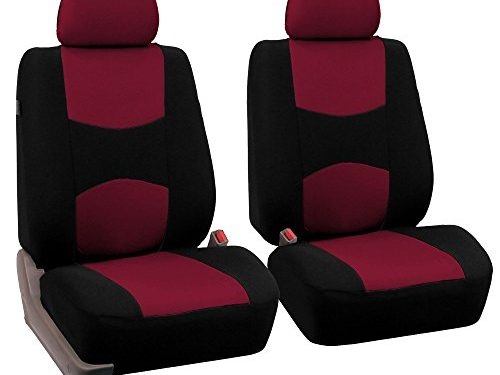 FH Group Universal Fit Flat Cloth Pair Bucket Seat Cover, Burgundy/Black FH-FB050102, Fit Most Car, Truck, Suv, or Van