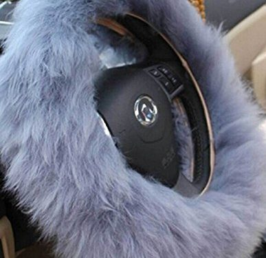 Yontree Winter Warm Faux Wool Handbrake Cover Gear Shift Cover Steering Wheel Cover 14.96″x 14.96″ 1 Set 3 Pcs Gray
