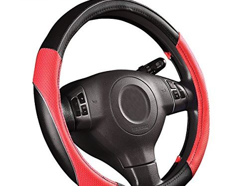 CAR PASS PVC Leather Rainbow Universal Fit Steering Wheel Cover – Red