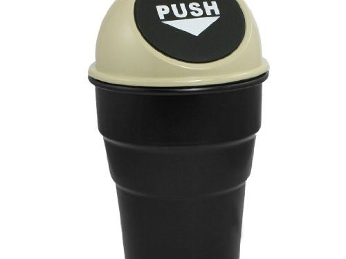 uxcell Office Home Vehicle Car Garbage Rubbish Trash Bin Can Holder Beige