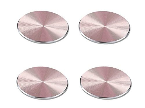 YIANERM 32x32MM Circular Car Mount Metal Plate For All Magnetic Car Mount Cellphone Holder Pack of 4 4 Pack-Rose Gold