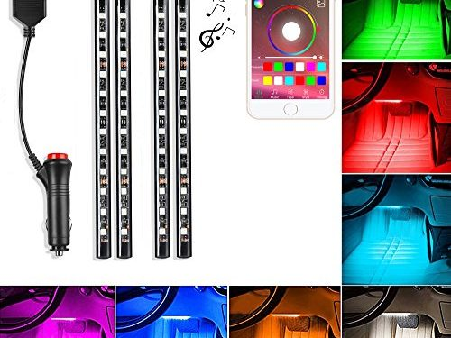 Saimly 4-Piece Multicolor LED Interior Underdash Lighting KitBy APP Bluetooth Controller for iPhone Android
