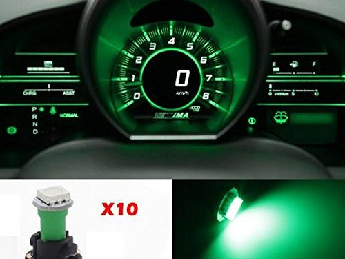 Partsam 10pcs PC74 T5 37 74 LED 5050 SMD Instrument Panel LED Light Gauge Cluster Dashboard Indicator Bulbs with Twist Socket, Green