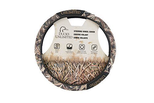 Ducks Unlimited Two-Grip Steering Wheel Cover Mossy Oak Shadow Grass Blades Camouflage, Microfiber Fabric, Rubber Hand Grips, Sold Individually