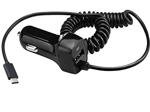 USB Type C Car Charger, Samsung Galaxy S8/ S8 Plus ,JOMOQ Retractable Coiled Dual-Port Charger Adapter, or for ChromeBook Pixel,Nexus 6P, LG G5 Nexus 5X, OnePlus 3 and Moreblack
