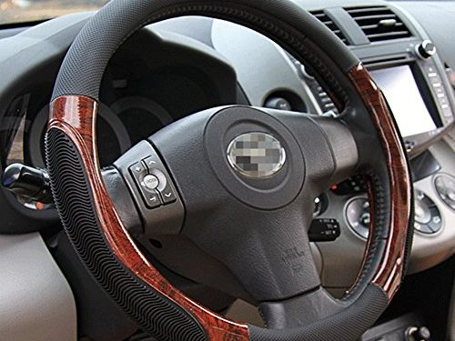 Moyishi Top Leather Steering Wheel Cover Universal Fit Soft Breathable Steering Wheel Wrap Black Wood
