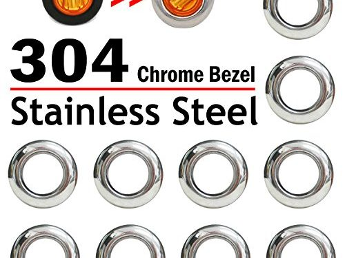 10 Pcs TMH 3/4″ Inch Stainless Chrome Bezel Cover LED Clearance Markers, side marker lights, led marker lights, led side marker lights, led trailer marker lights, trailer marker light