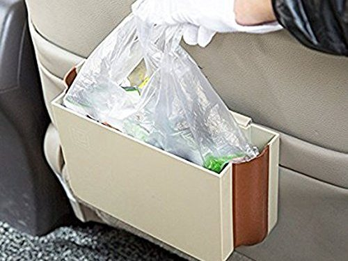 E-accexpert® 1 PCS 2015 Creative Living Automotive Folding Garbage Bin Car Litter Bag Trash Pouch Vehicular Trash Can for Car Beige