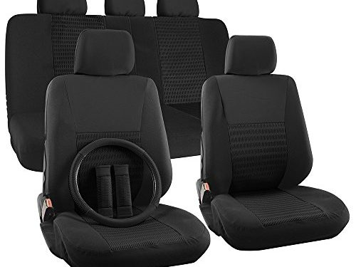 50/50 or 60/40 Rear Split Bench – 5 Head Rests – Airbag Compatible – OxGord 17pc Set Flat Cloth Mesh Solid Black Wide Stripe Seat Covers Set – Universal Fit + Steering Wheel Cover – Front Low Back Buckets