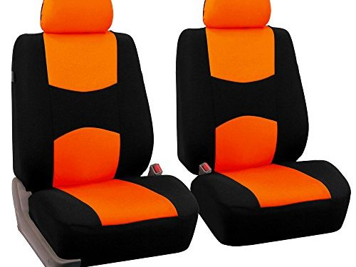FH Group Universal Fit Flat Cloth Pair Bucket Seat Cover, Orange/Black FH-FB050102, Fit Most Car, Truck, Suv, or Van