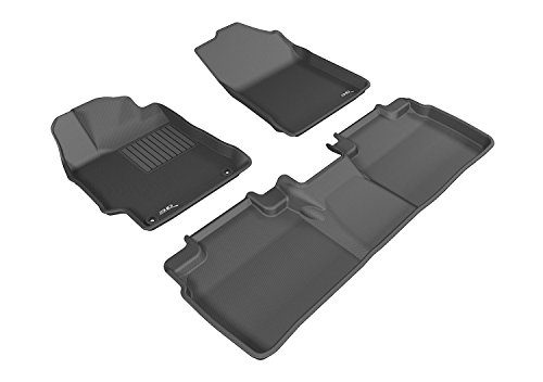 Kagu Rubber Black – 3D MAXpider Custom Fit Complete Floor Mat Set for Select Toyota Camry/Camry Hybrid Models
