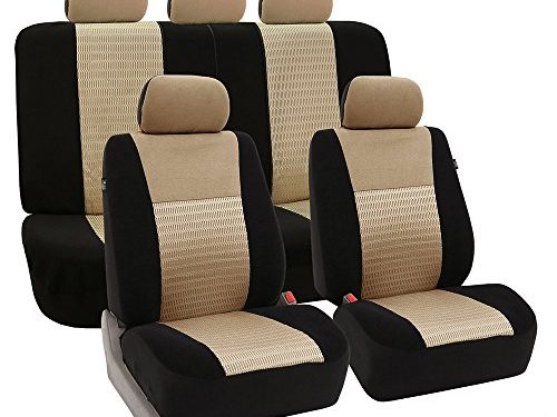 FH Group Universal Fit Full Set Trendy Elegance Car Seat Cover, Beige/Black FH-FB060115, Airbag compatible and Split Bench, Fit Most Car, Truck, Suv, or Van
