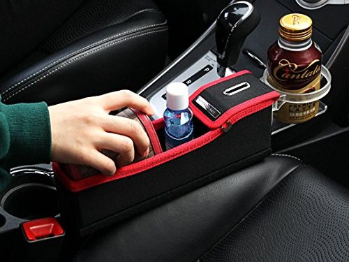 KMMOTORS Coin Side Pocket, Console Side Pocket, Car Organizer Red Plywood Passenger's Seat Red