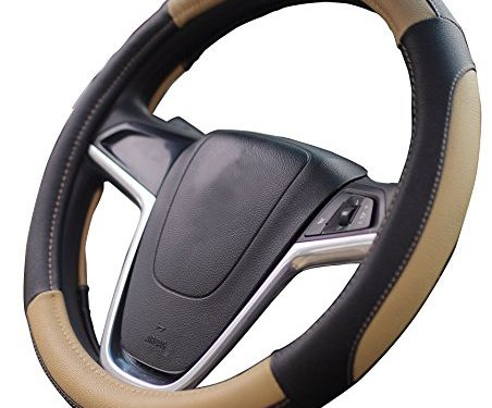 Mayco Bell Car Steering Wheel Cover 15 inch No Smell Comfort Durability Safety Black Beige