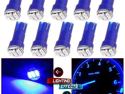 CCIYU 10 Pack Blue T5 Wedge 3-3014 SMD LED Dash Instrument Gauge Light Bulbs 37 70 73 74