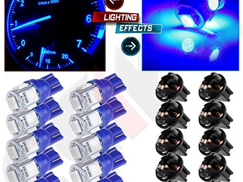CCIYU 10T10 5-5050-SMD PC194 Blue LED Bulb Instrument Panel Cluster Dash Light Twist Lock Socket
