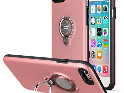 iPhone 6 Plus Case with Ring Kickstand by ICONFLANG, 360 Degree Rotating Ring Case for iPhone 6 Plus Dual Layer Shockproof Impact Protection iPhone 6+ Case Compatible with Magnetic Car Mount- Pink