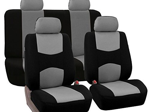 FH Group Universal Fit Full Set Flat Cloth Fabric Car Seat Cover, Gray/Black FH-FB050114, Fit Most Car, Truck, Suv, or Van
