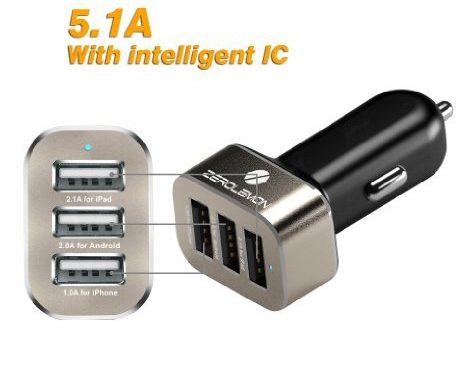 ZeroLemon Car Charger 5.1Amps / 25.5W Triple USB Aluminum Shield Rapid Charger -180 days ZeroLemon Warranty Guarantee-Gold/Black