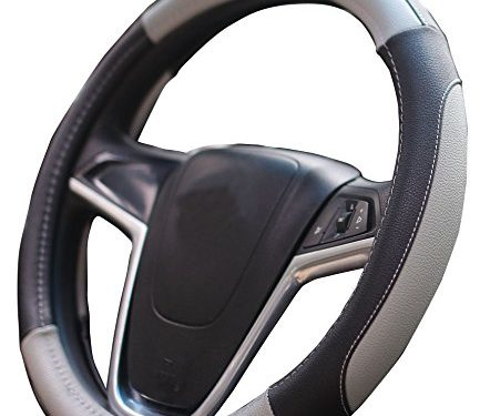 Mayco Bell Car Steering Wheel Cover 15 inch Comfort Durability Safety Black Gray