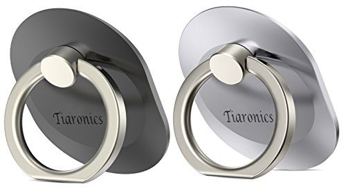 2Pcs Universal Smartphone Metal Phone Ring Holder Ring Kickstand Finger Loop Detachable Mobile Stand Holder black/silver