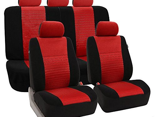 FH Group Universal Fit Full Set Trendy Elegance Car Seat Cover, Red/Black FH-FB060115, Airbag compatible and Split Bench, Fit Most Car, Truck, Suv, or Van
