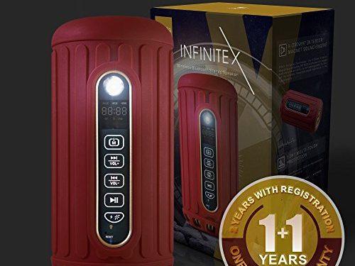 RUBY RED – Waterproof, Dustproof, Shockproof w/ Built-in Powerbank, LED light, Micro-SD card Slot – Bliiq Infinite X Portable Bluetooth Wireless Speaker