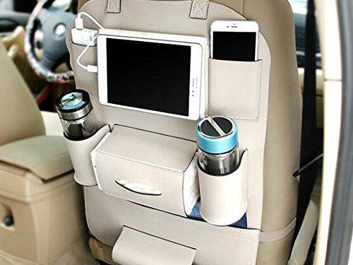 Pu Leather Car Seat Back Organizer Holder Multi-Pocket Travel Storage Bag for Cars SUVs Trucks Vans Beige