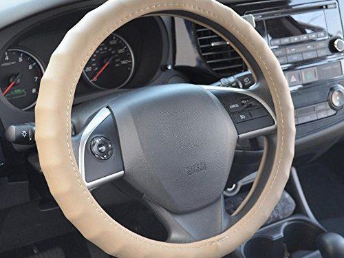 BDK Genuine Leather Car Steering Wheel Cover 15″-16″ Large / Beige