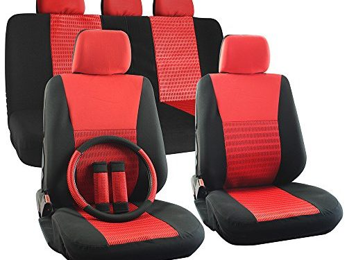 OxGord 17pc Set Flat Cloth Mesh Red/ Black Wide Stripe Seat Covers – Universal Fit + Steering Wheel Cover – Airbag Compatible