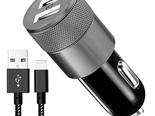 Car Charger, 3.1A Rapid Dual Port USB Car Charger+6FT Apple Lightning Cable Adapte to USB Cable for iPhone 7/7 Plus,6/6S/6 Plus/6S Plus,5S/5,iPad,iPod Nano 7,Android Cable devicesBlack