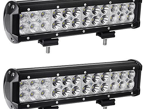 YITAMOTOR Led Light Bar 2PCS 12 Inch 72W LED Light Bar Spot Flood Combo with Mounting Bracket Waterproof for Jeep off road Van Camper Wagon ATV AWD SUV 4WD 4×4 Pickup