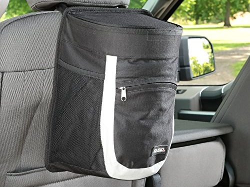 Highly Rated Car Trash Bag with Bottle Holders and Extra Storage Pocket – Gray/black – Clean Ridez Garbage Can for Cars with Ez Flip Lid & Vinyl Leakproof and Removable Liner