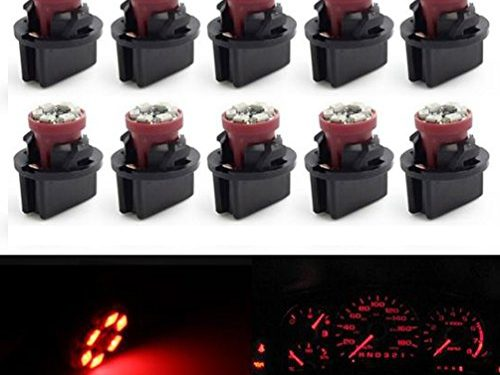 Partsam T10 194 LED Light bulb 168 LED Bulbs Bright Instrument Panel Gauge Cluster Dashboard LED Light Bulbs Set 10 T10 LED Bulbs with 10 Twist Lock Socket – Red