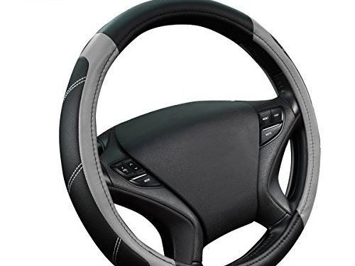 NEW ARRIVAL- CAR PASS Line Rider Leather Universal Steering Wheel Cover fits for Truck,Suv,Cars Black and Gray