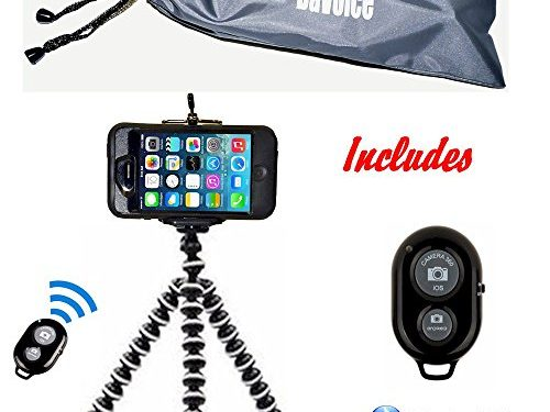 Cell Phone Tripod Adapter – DaVoice White/Black – Bluetooth Remote Control – iPhone SE 7 6 6S 5 5s 5c 4s 4, Samsung Galaxy S8 S7 S6 S5 S4 S3 S2 – Travel Bag – Flexible Tripod