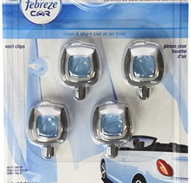 Febreze Car Vent-Clip Air Fresheners, Linen & Sky, 0.26 Fl. Oz. Pack of 4